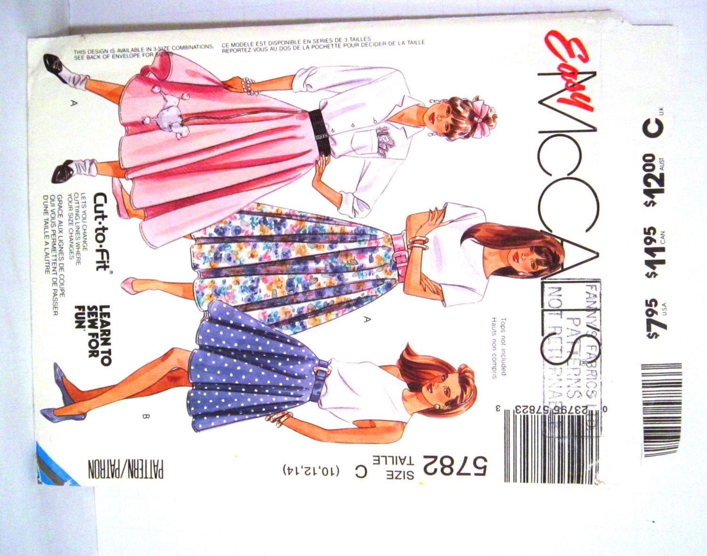 Poodle Skirt Pattern Misses Size 10 12 14 McCalls 5782 Applique Ladies Circular Fifties