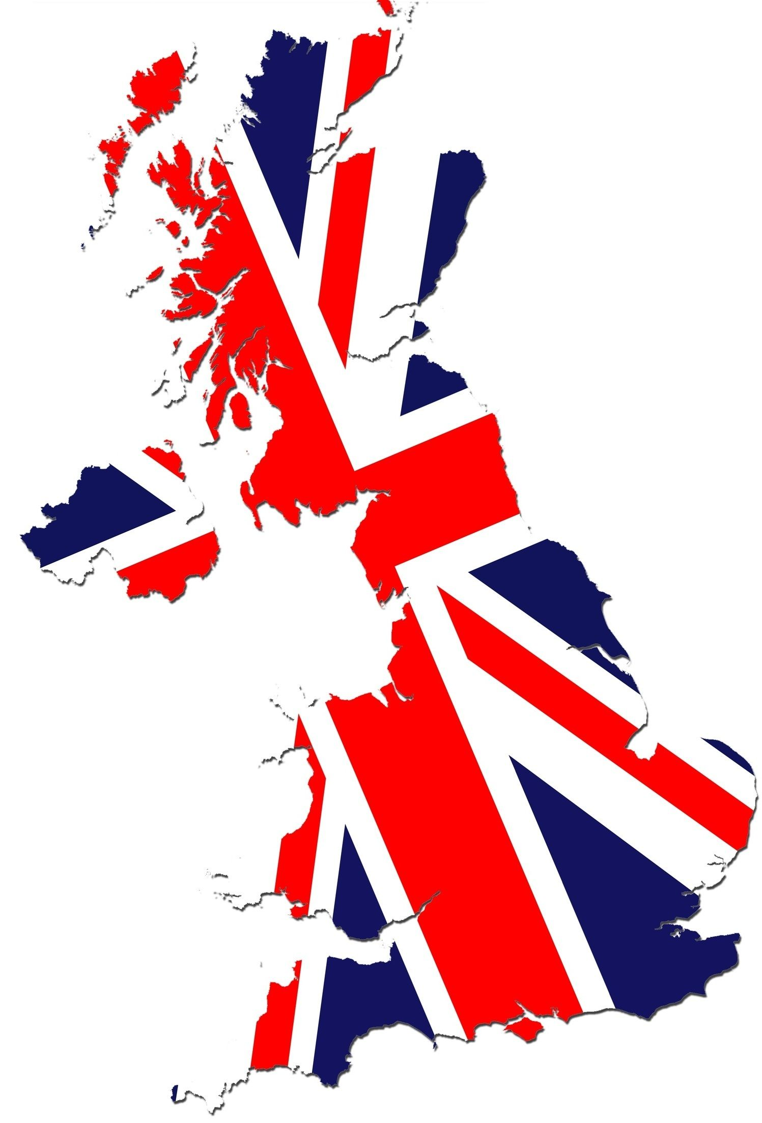 Flag Of England Britain Over Map
