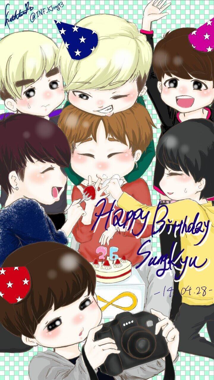 [FANART] Sunggyu's Birthday with the members pic.twitter.com/lDE7QDFRZN (cr:INF_KJong93 )
