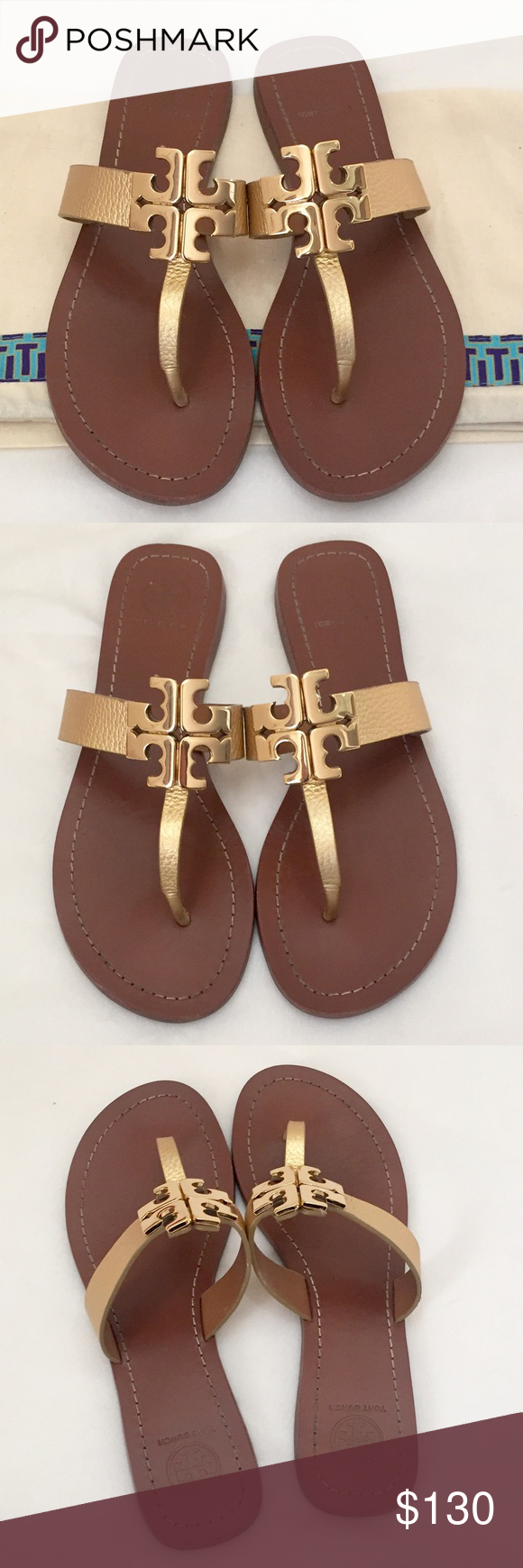 bfdfe26e45b Tory Burch Moore Sandals Tory Burch Moore 2 Sandals. Absolutely gorgeous  Metallic gold leather sandals