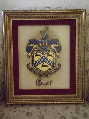 "Vintage Hand Painted ""Swift"" Coat of Arms Family Crest Heraldry 