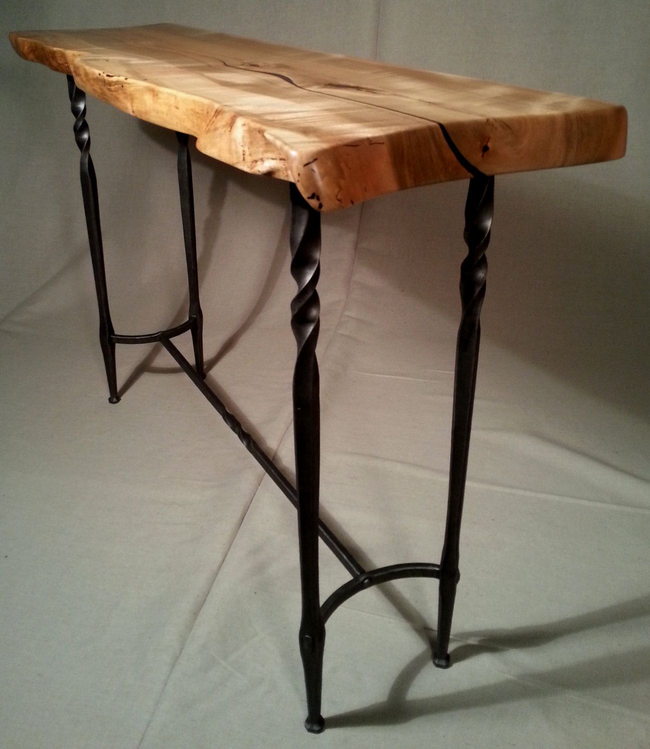 Wood and Hand Forged Steel Hall Table