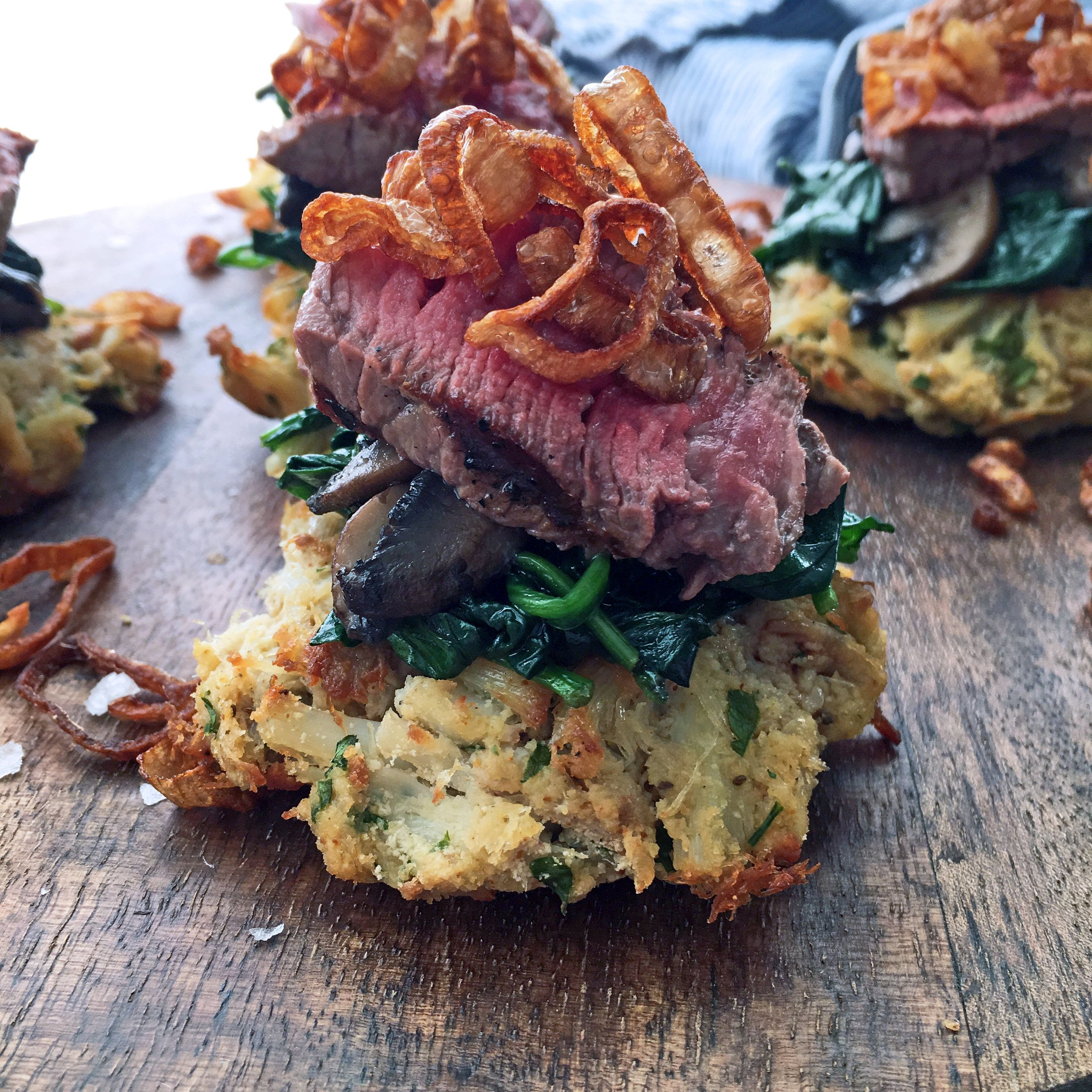 Crispy Shallot, Steak and Crab Cake Stack
