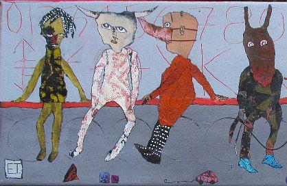 Elke Trittel detail acrylics,collage on canvas 20/60cm