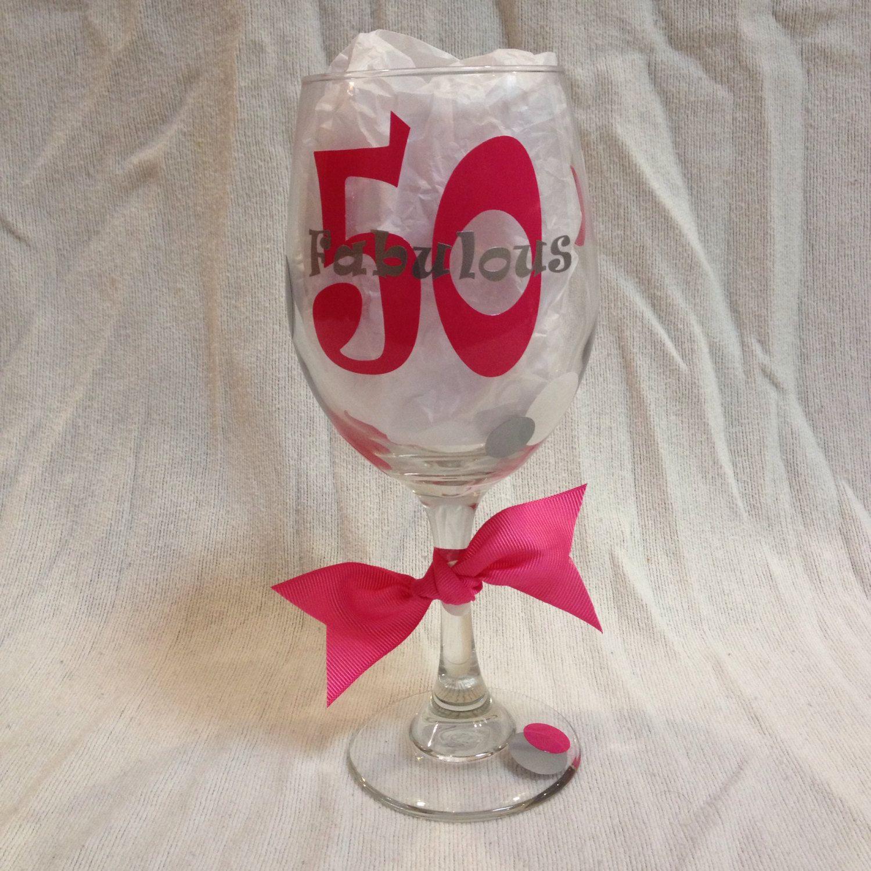 50th Birthday Wine Glass Birthday Wine Glass 50th Birthday Wine Hand Decorated Wine Glasses