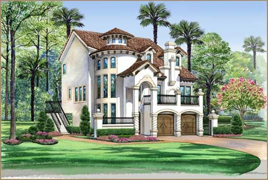 italian style house plans - 3596 square foot home , 3 story, 3