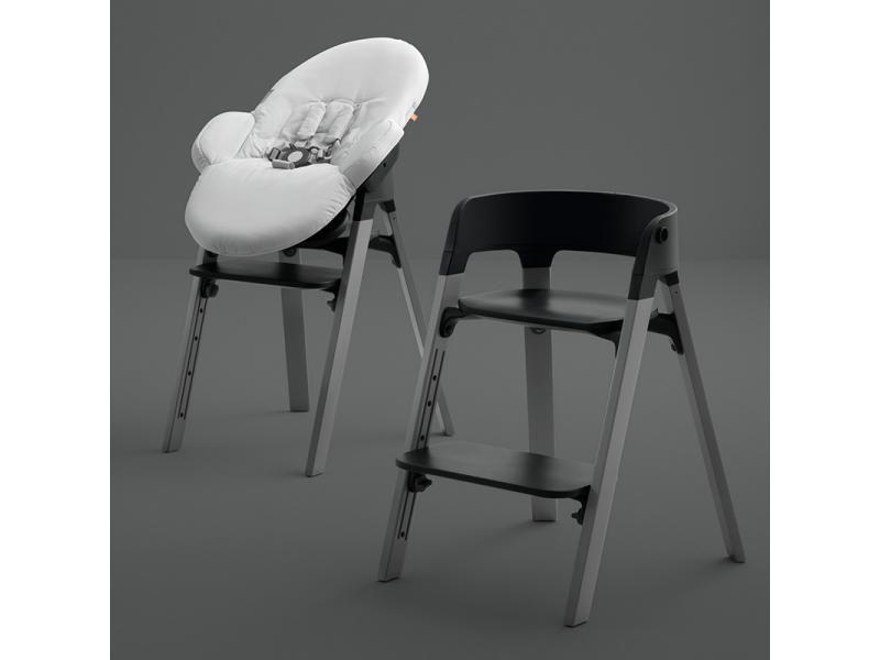 Chaise Steps Assise Noire Pieds En Bois De Chene Noir Chaise Haute Chaise Evolutive Chaise Haute Design
