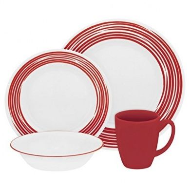 Corelle Vitrelle Glass Brushed Chip and Break Resistant Dinner Set Set of 16 Red  sc 1 st  Pinterest & Corelle Vitrelle Glass Brushed Chip and Break Resistant Dinner Set ...