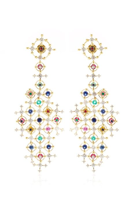 Alhambra 18K Gold and Precious Stone Drop Earrings by Wilfredo Rosado
