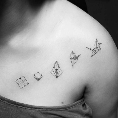Origami Crane Instructions Tattoo On The Left Side Of Chest