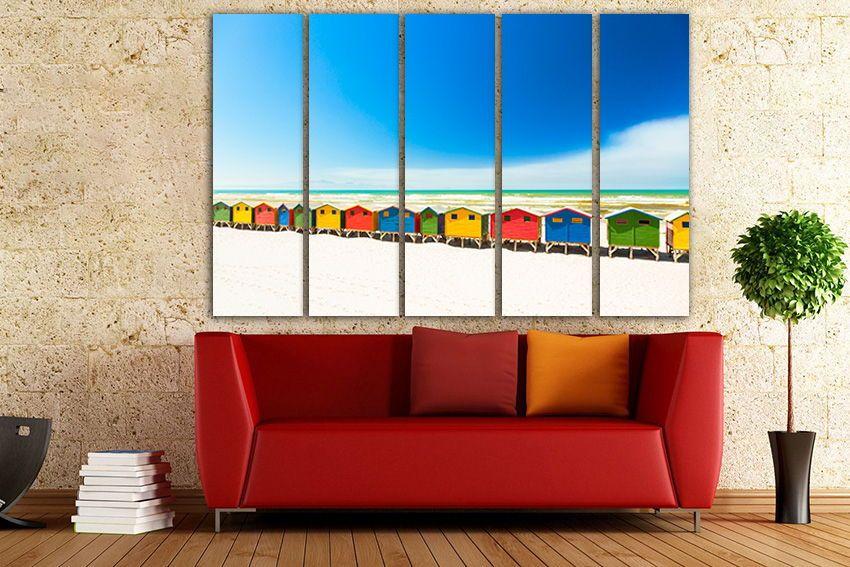 Muizenberg Beach Wall Art Canvas Colorful Houses Ocean Wall Art