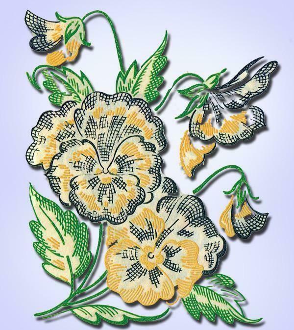1950s Charming Uncut Vogart Textilprint Pansies Hot Iron Color Transfer 66 #Textilprint