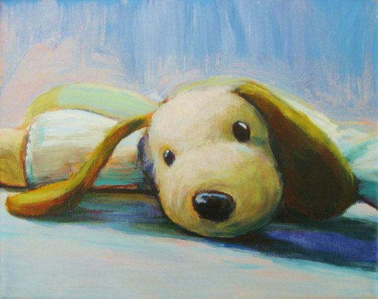 Custom painting of your kids lovies - immortalize them before they fall apart. We're on plastic surgery #4 coming up with Lamby... this might be a great thing to do. :)