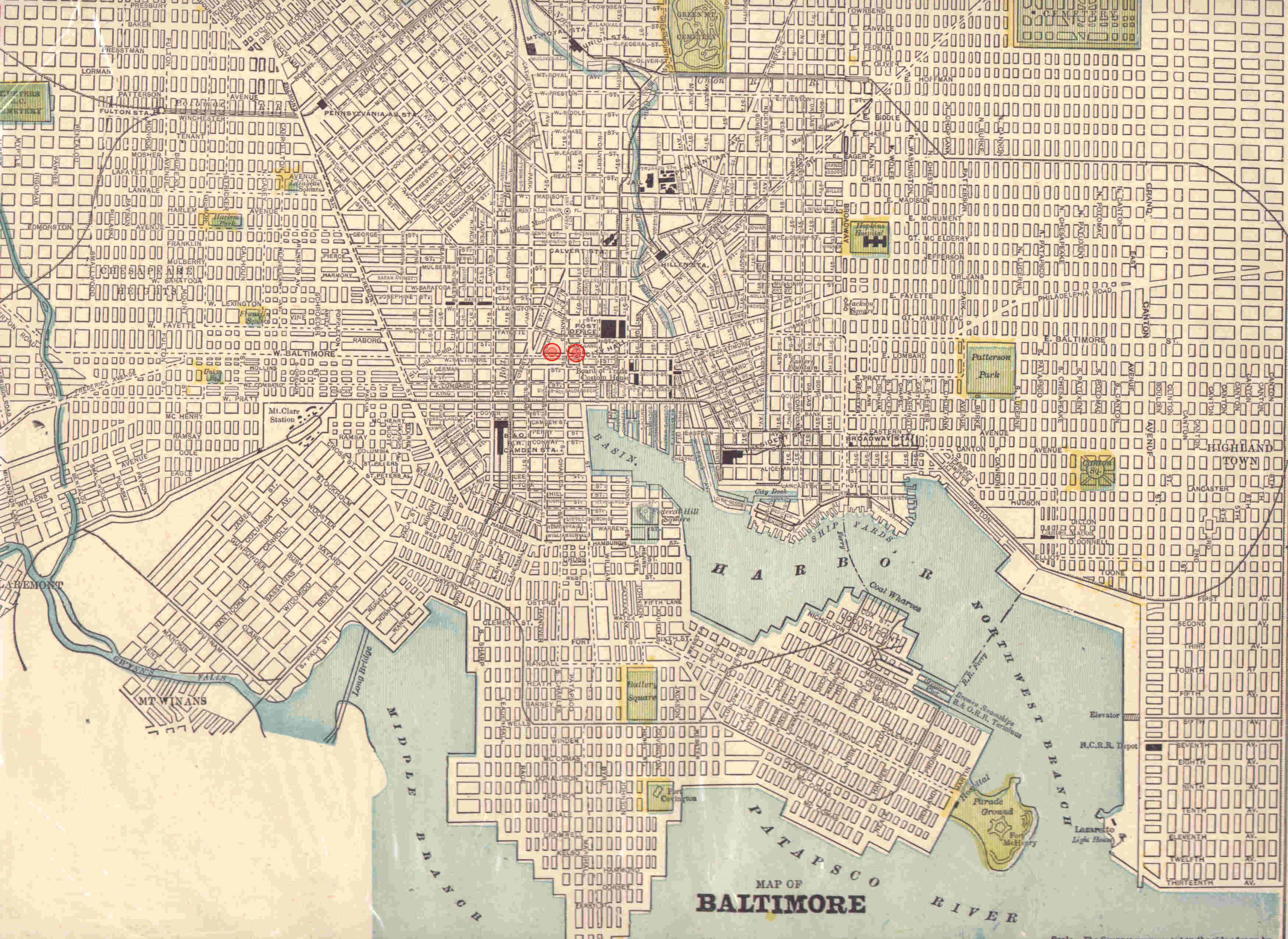 Baltimore City Map Page Genealogy RolkerDiering Pinterest