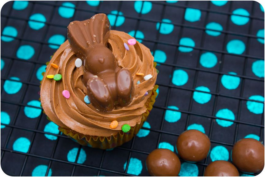 Malteser Easter bunny cupcakes with malted Belgian chocolate frosting