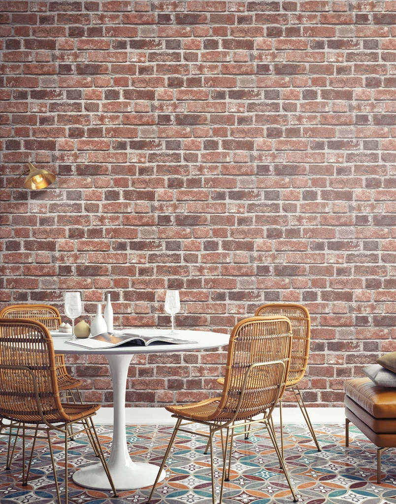 Distressed Brick Peel And Stick Wallpaper In Red By Nextwall In 2020 Red Brick Wallpaper Brick Wallpaper Peel And Stick Wallpaper