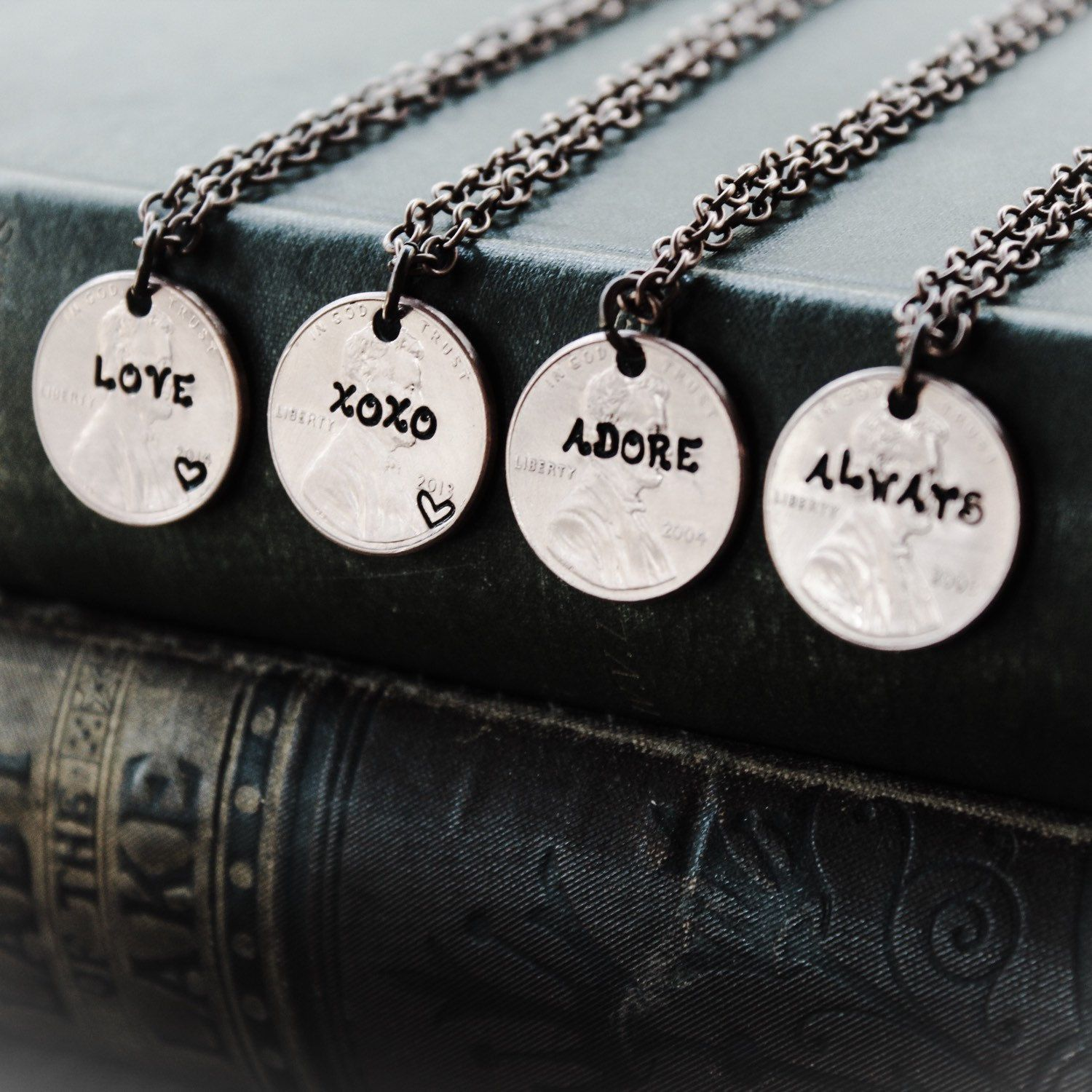 Custom Word Necklace, Penny Necklace, Gift For Wife, Penny