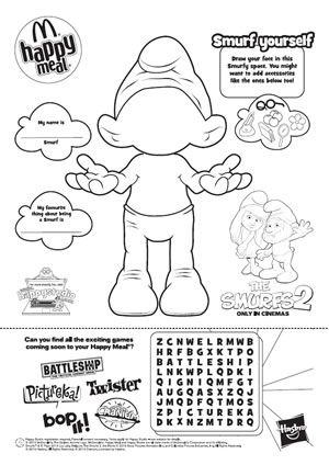 The Smurfs 2 : Happy Meal Colouring Sheet | smurf | Pinterest | Smurfs