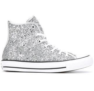 3663347f917 Women's Sparkly Glitter Converse All Stars Silver Sterling Bling High Top  Wedding Bride Shoes #weddingshoes