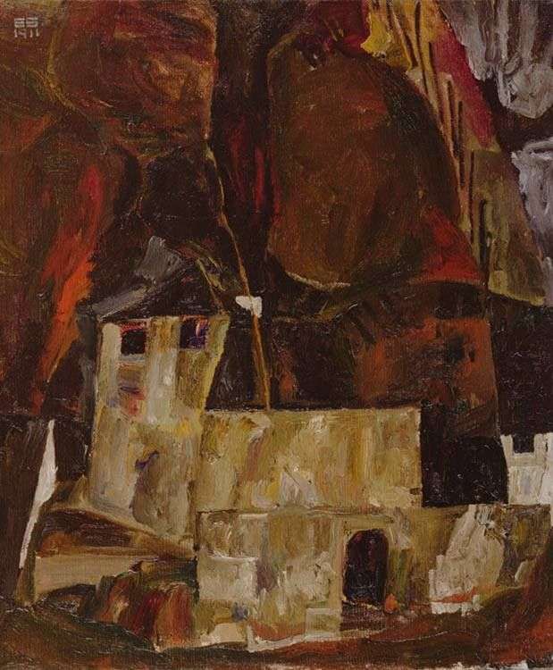 Egon Schiele Wall And House In Front Of Sloopy Landform With Fence