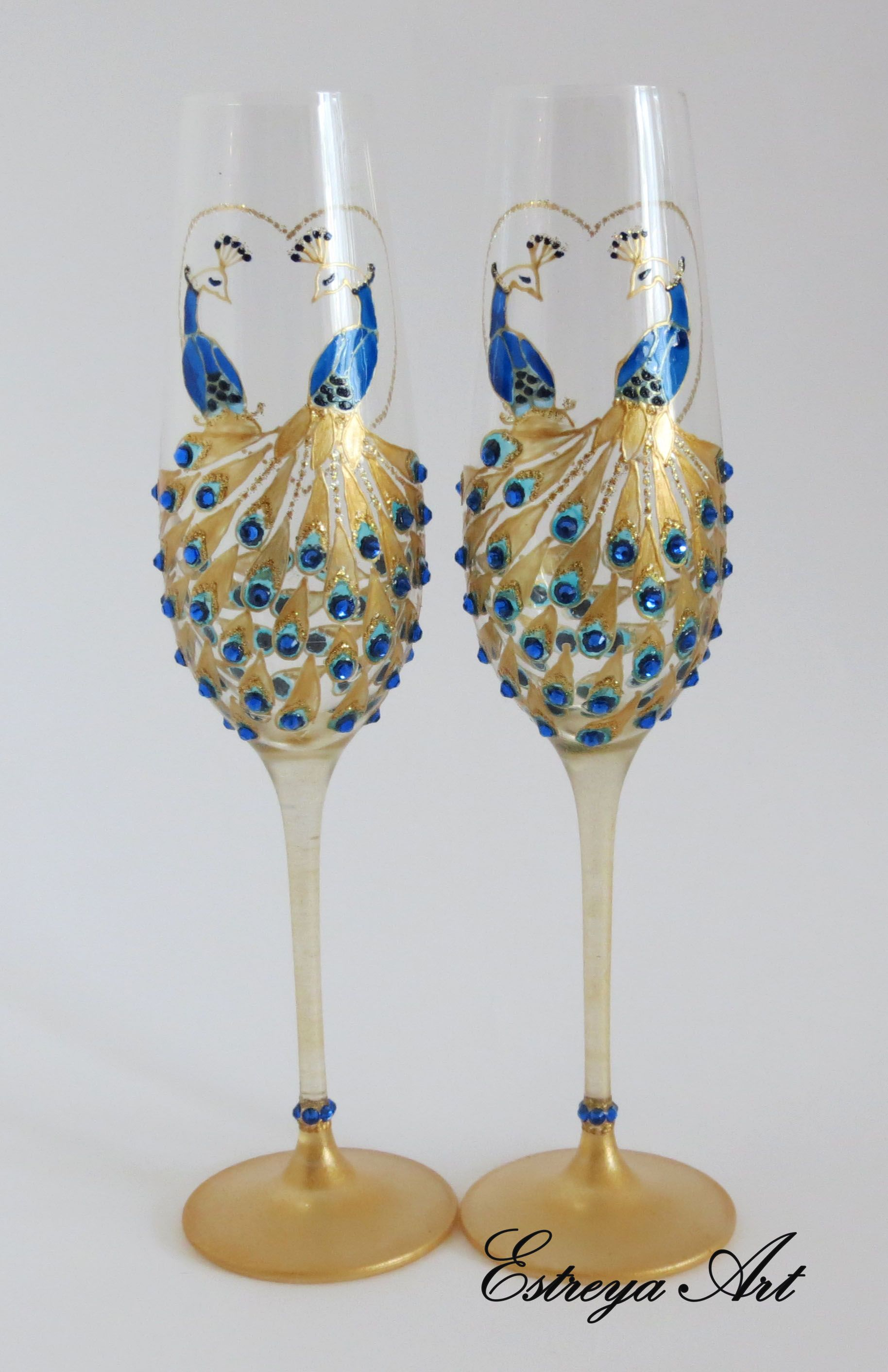 Unique Crystal Hand Painted Chanpagne Flutes