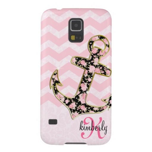 Pink Vintage Floral Anchor Chevron Personalized Case For Galaxy S5