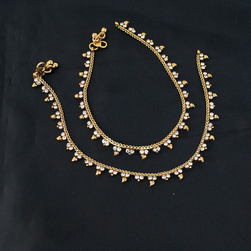 Ethnic indian pakistani payal anklet pair with soft bells bollywood