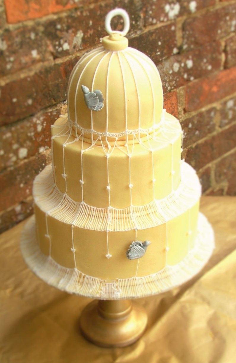 Fondant 3 tier cake with royal icing birdcage detail. | Emma\'s ...