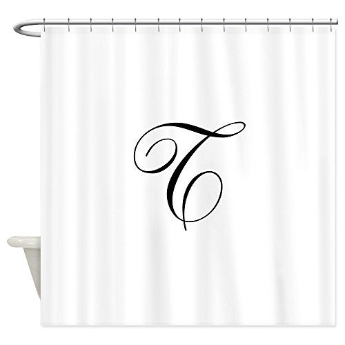 Cafepress Ornate Script Monogram Letter T In Black Shower Cu Decorative Fabric Shower Curtain Click Image To With Images Script Monogram Monogram Letters Black Shower