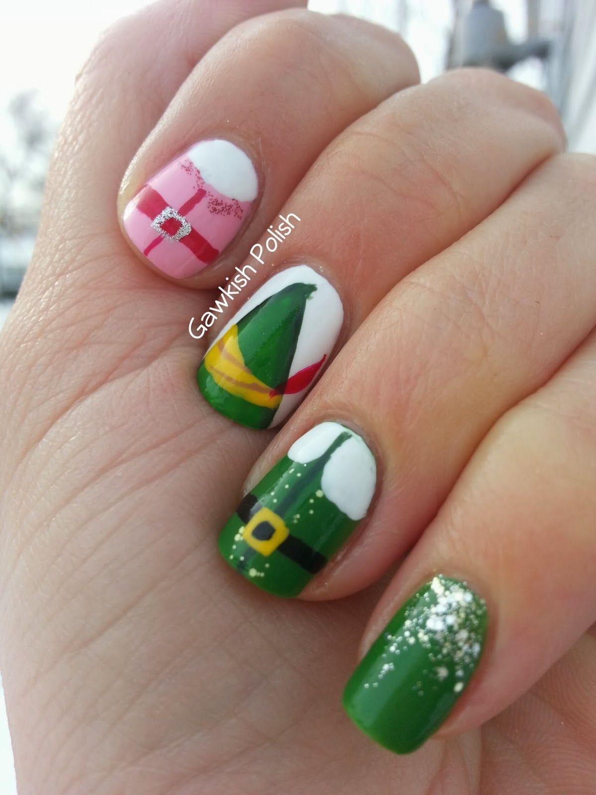 Elf Movie Nail Art, Gawkish Polish. Christmas nails in 2019