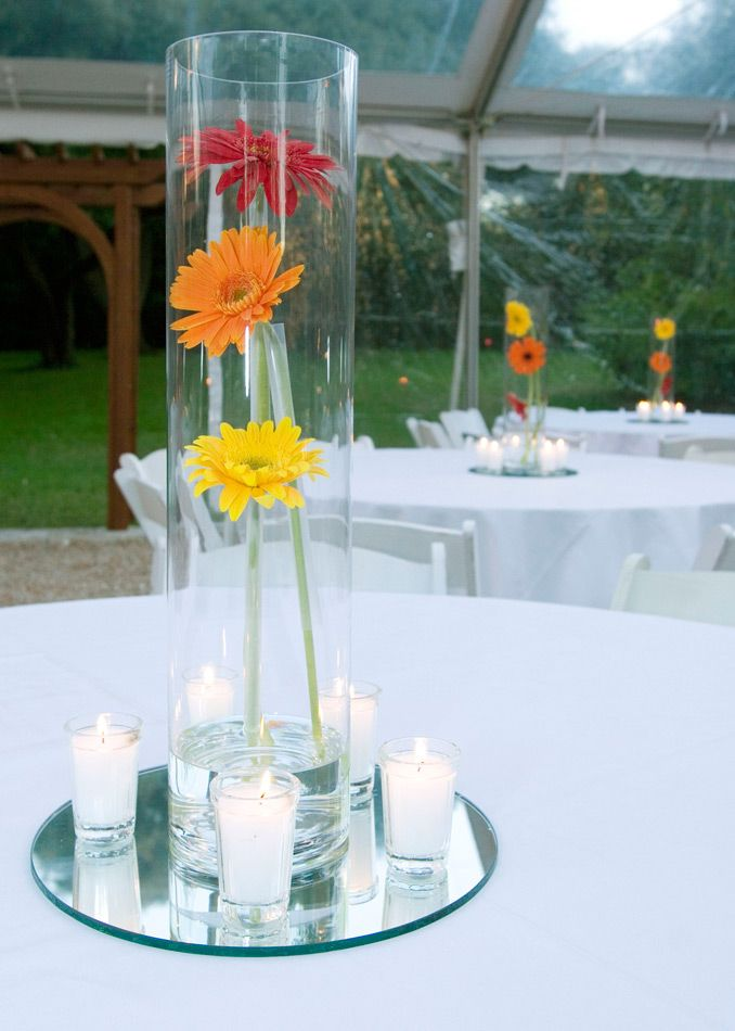 Hearts Flowers Decorating For Your Wedding Day Simple And Sweet Not To Mention Eas Daisy Centerpieces Daisy Wedding Centerpieces Gerbera Daisy Centerpiece