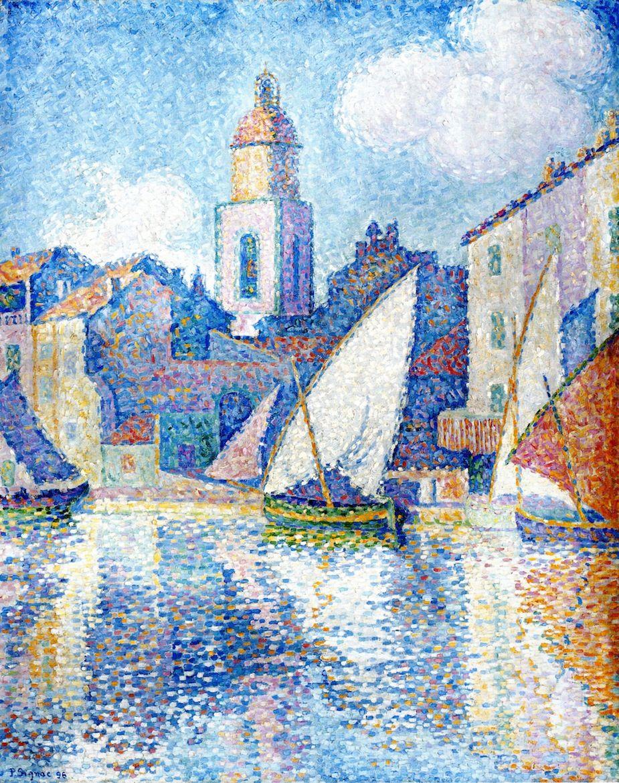 Paul signac steeple in saint tropez het schilderij is 2d het is geschilderd met stippen er - Associatie van kleur e geen schilderij ...