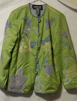 QVC Indigo Moon Floral Lace Lined Jacket Extra Small