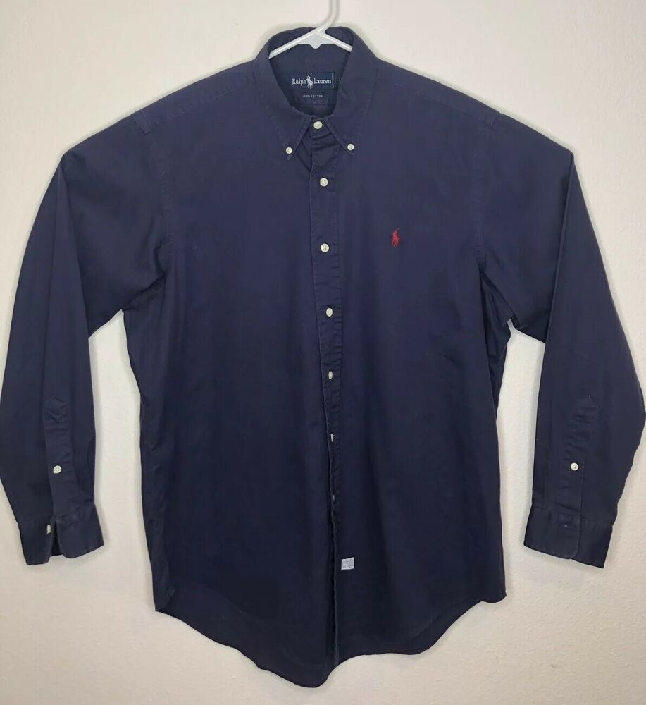 Label Dark Button Up Polo Blue Ralph Mens 100Cotton Lauren 8nPwkXO0
