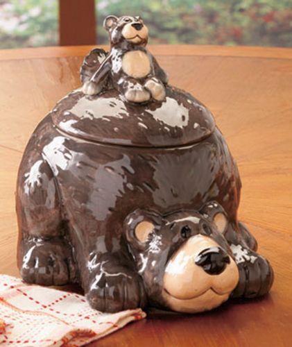 Ceramic-Bear-Cookie-Jar-Cabin-Lodge-Kitchen-Decor-Country-Decoration