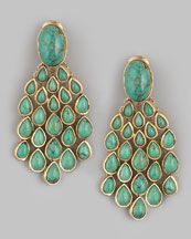 Aurelie Bidermann Turquoise Drop Earrings  Like a Peacock's tail!!!