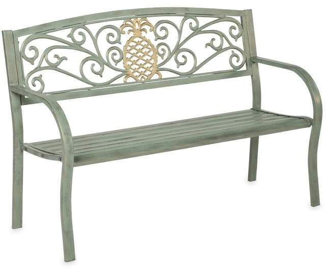 Fantastic Plow Hearth Pineapple Metal Garden Bench Products In Caraccident5 Cool Chair Designs And Ideas Caraccident5Info