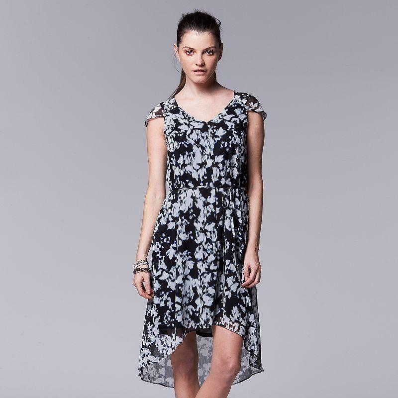 40aacfe3 Women's Simply Vera Vera Wang Floral Chiffon High-Low Dress, Size ...