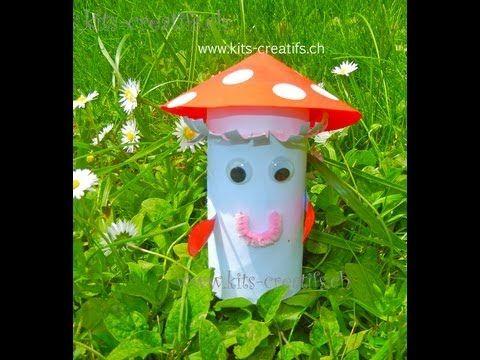 bricolage enfant champignon avec rouleau de papier toilette diy toilet paper roll kids crafts. Black Bedroom Furniture Sets. Home Design Ideas