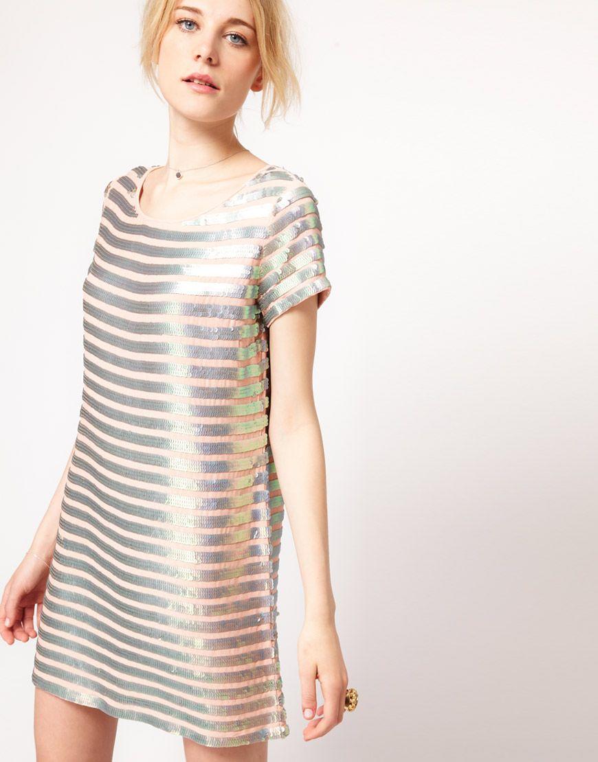 French Connection Metallic Stripe Shift Dress