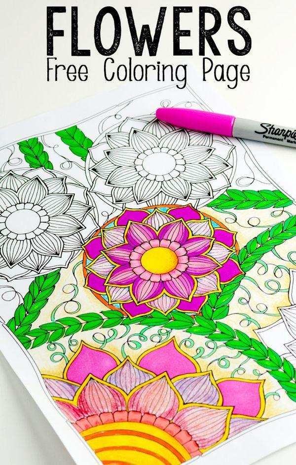 Flowers Coloring Page | Pinterest | Mandalas, Colorear y Piedras ...