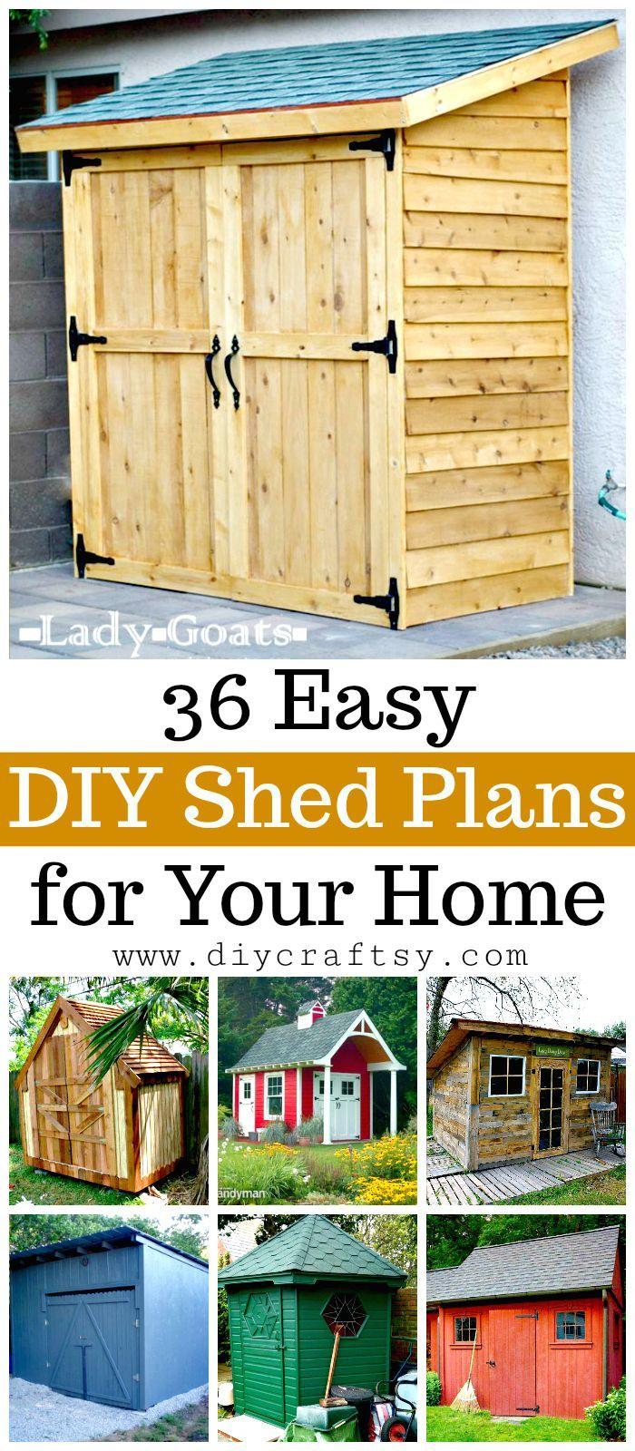 DIY Shed Plans - 36 Easy DIY Shed Designs for Your Home   Pinterest ...