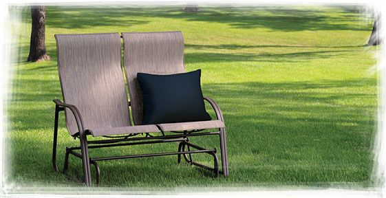 Homecrest S Palisade Sling High Back Loveseat Glider While Our Palisade Collectio Patio Furniture Collection Outdoor Wicker Furniture Casual Outdoor Furniture