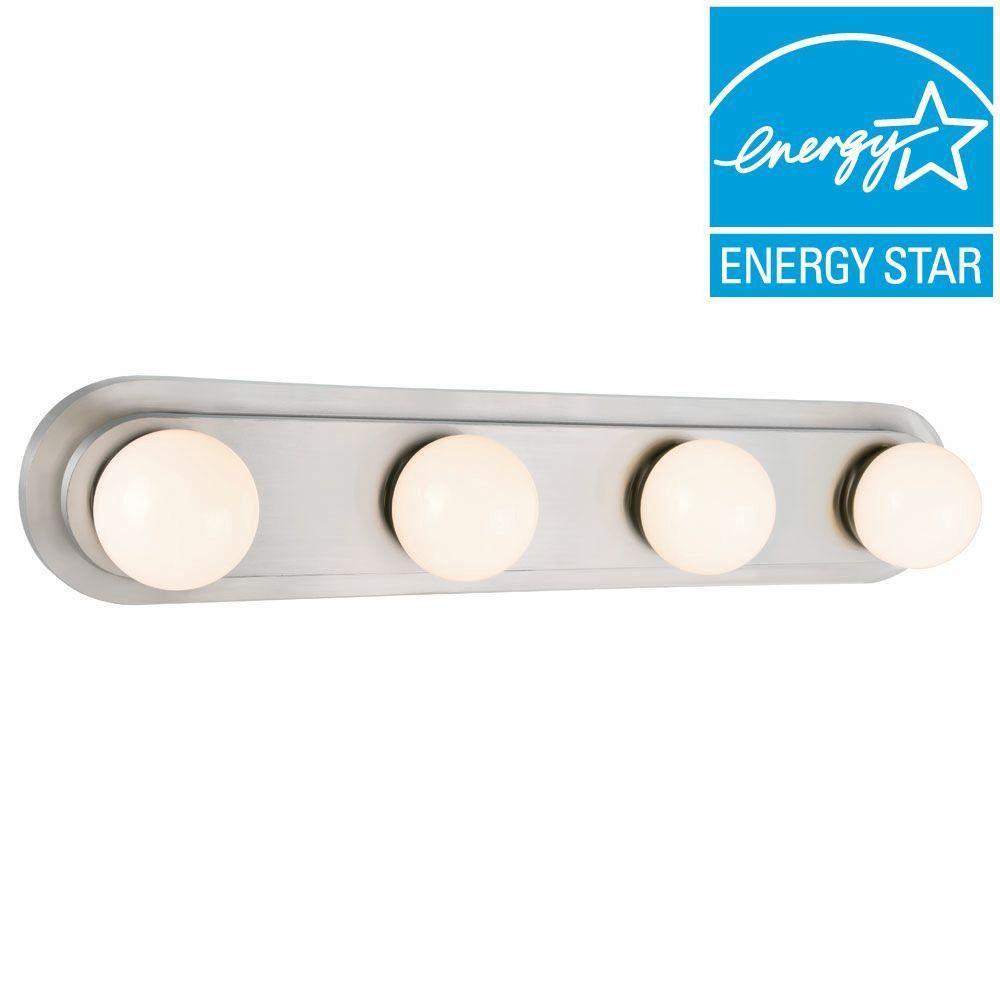 Beau Hampton Bay 160 Watt Equivalent 4 Light Brushed Nickel Integrated LED Hollywood  Vanity Light