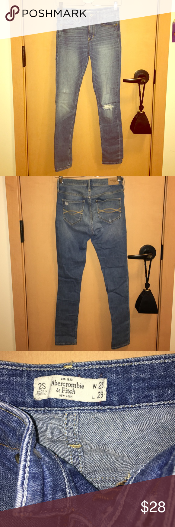 Abercrombie and Fitch ripped jeans Super cute Abercrombie and Fitch jeans, worn a couple times but still in very good shape. Abercrombie & Fitch Jeans Straight Leg