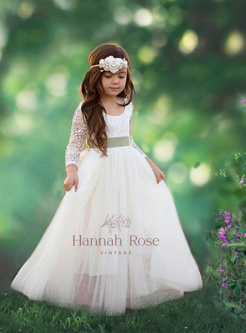 Flower Girl Dress Beautiful Long Flowing Ivory Or White Boho Vintage Flower Girl Dresses Girls Dresses Tulle And Lace Flower Girl Dress Flower Girl Gown Flower Girl Dresses Flower Girl Dresses [ 1074 x 794 Pixel ]