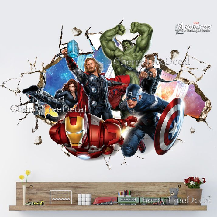 Super Hero Avengers Wall Crack Decal Sticker Boys Bedroom Decor Art Hulk  Ironman Part 72