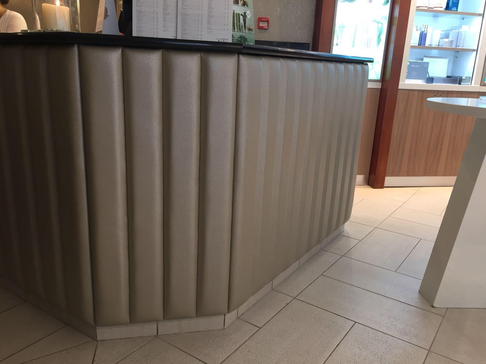 Vintage teestube forum spa  upholstered reception desk  hotels  pinterest