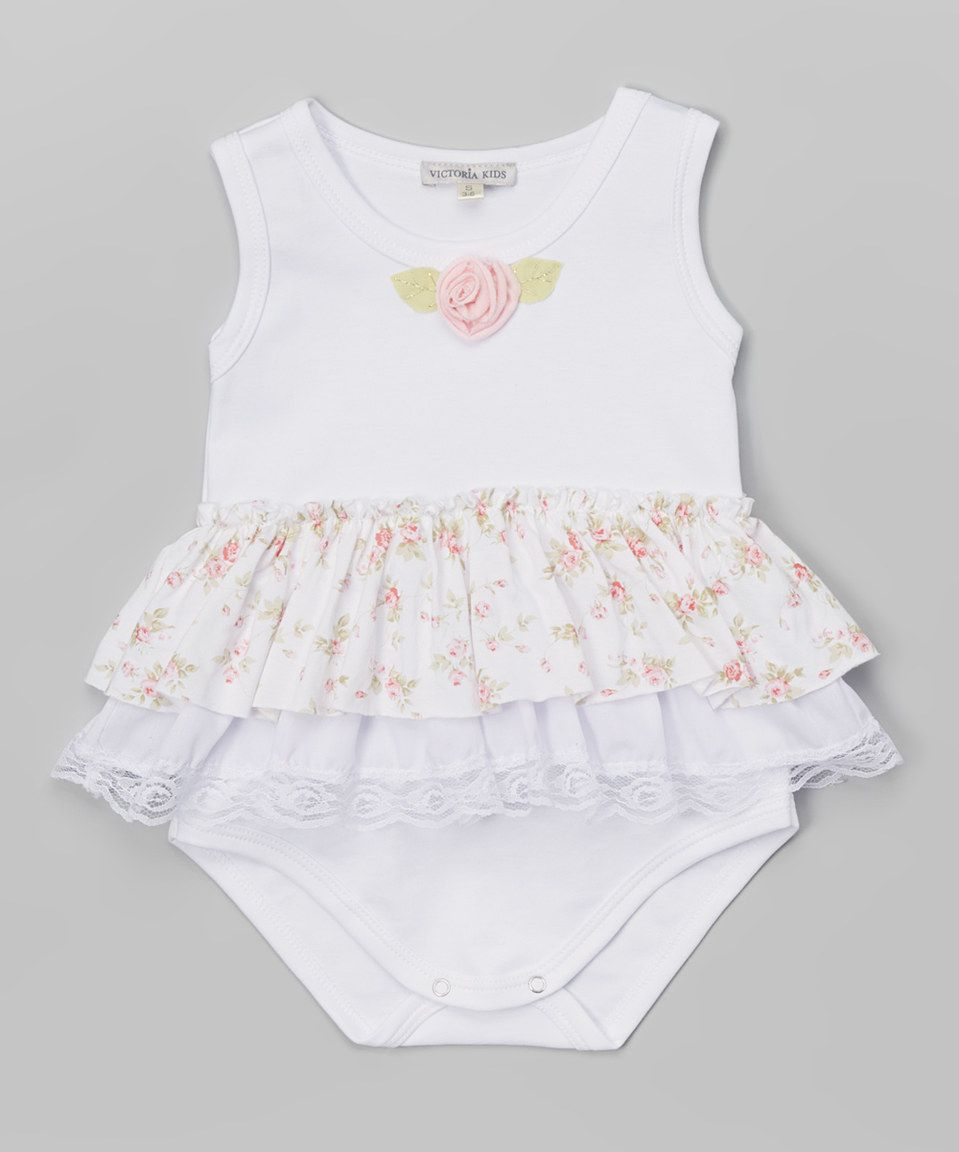 Loving this Victoria Kids White & Pink Flower Bodysuit - Infant on #zulily! #zulilyfinds