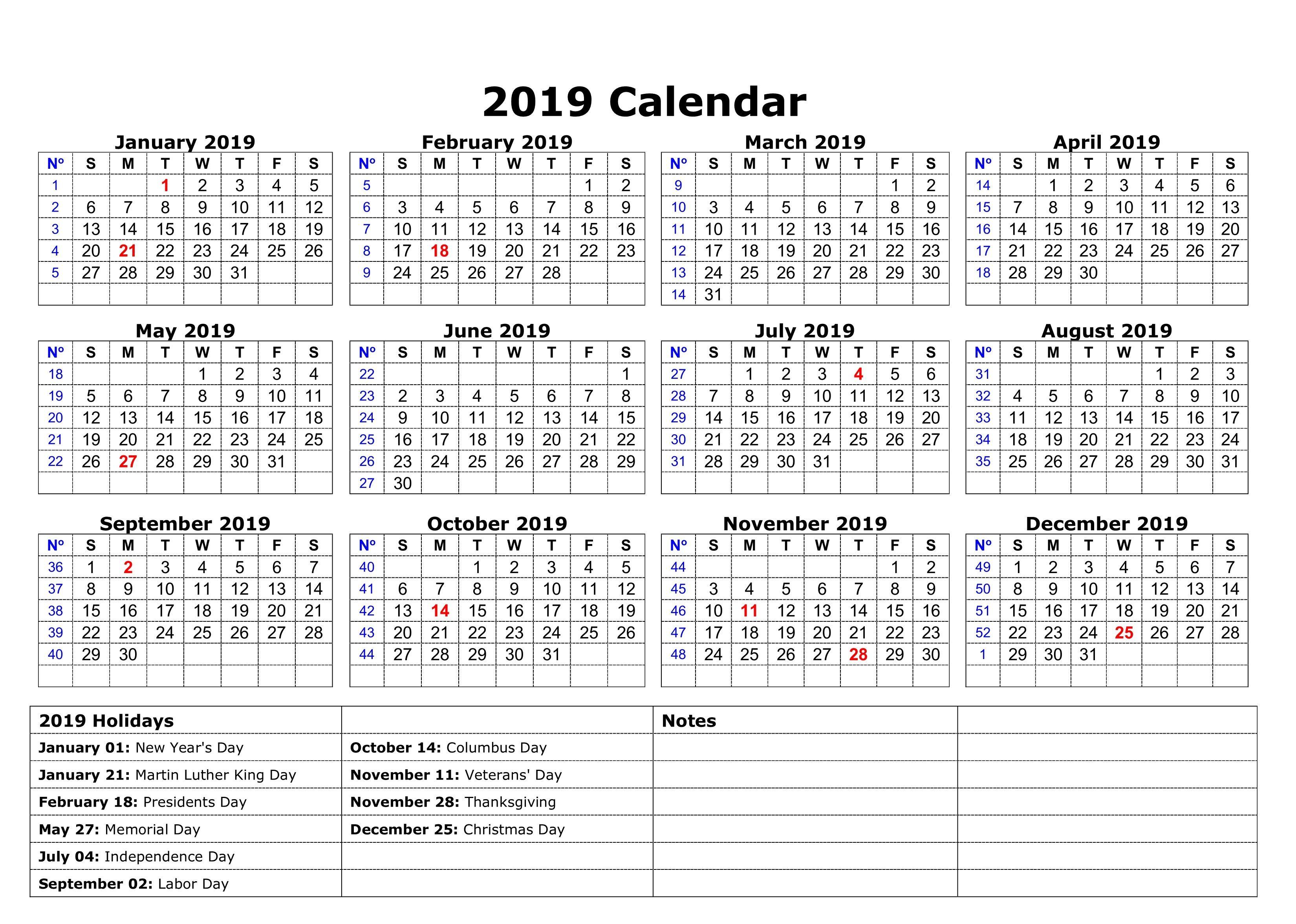 Printable Calendar 2019 Printable Yearly Calendar Holiday